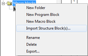 Import structure block